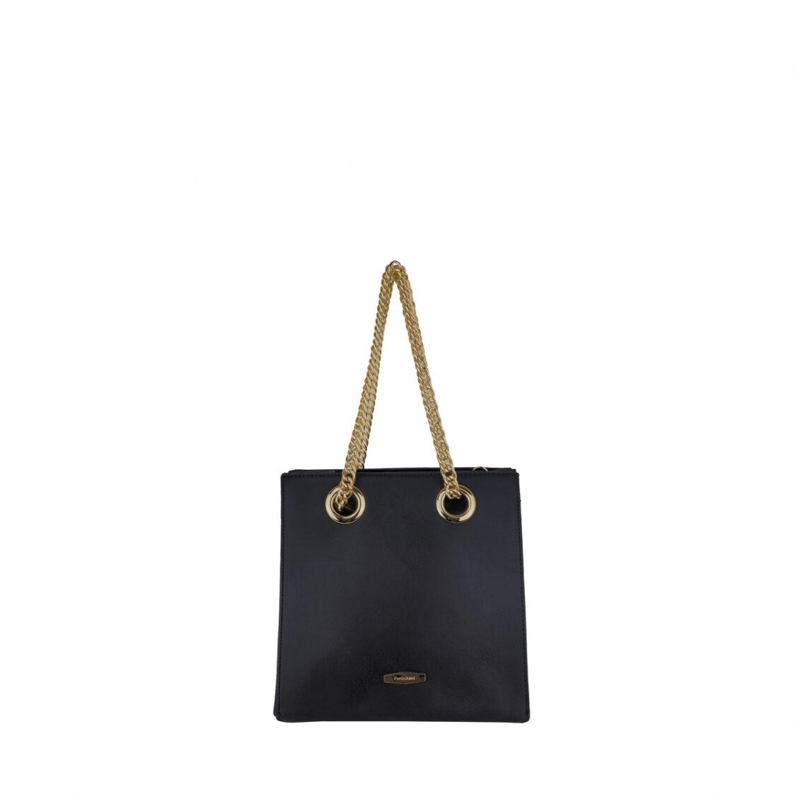 Perllini  Mel Metal Chain Handle Bag Black