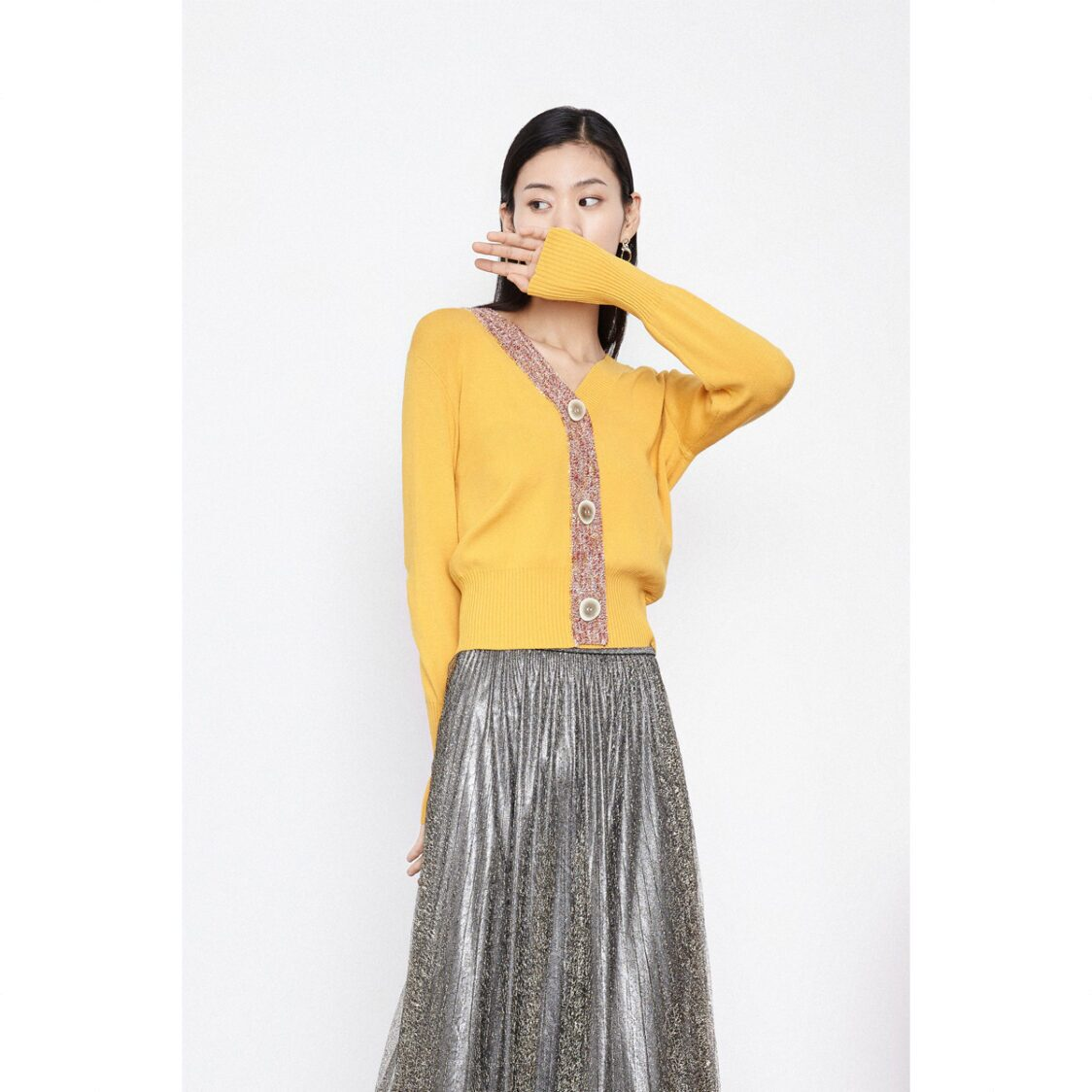 Lily Asymmetric Contrast Band Cardigan Mango Yellow