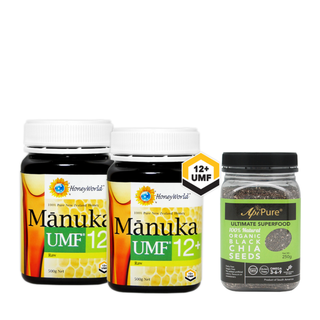 Honeyworld Raw Manuka UMF12 500g Twin  Apipure Organic Black Chia Seed 250g Metro Exclusive
