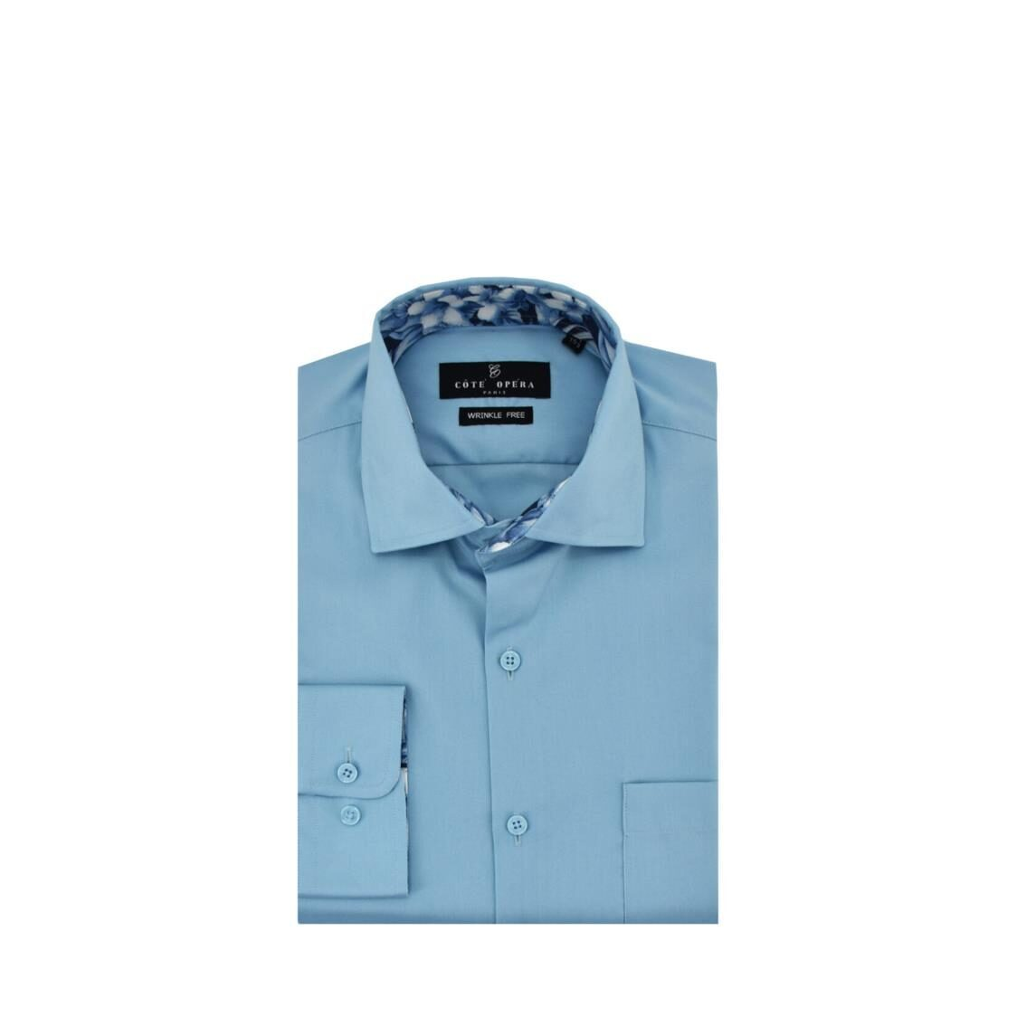 Cote Opera Long-Sleeved Shirt with Wrinkle-Free  Moist Cured finish - Blue