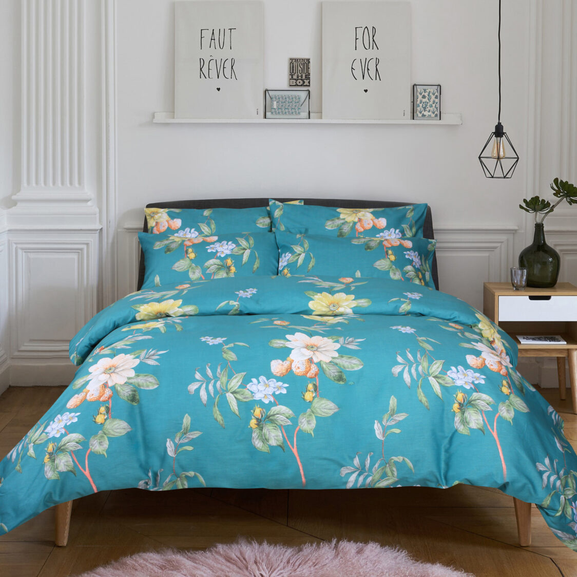 Eurotex Contemporary 900Tc 100 Cotton Printed Fitted Sheet Set Florence