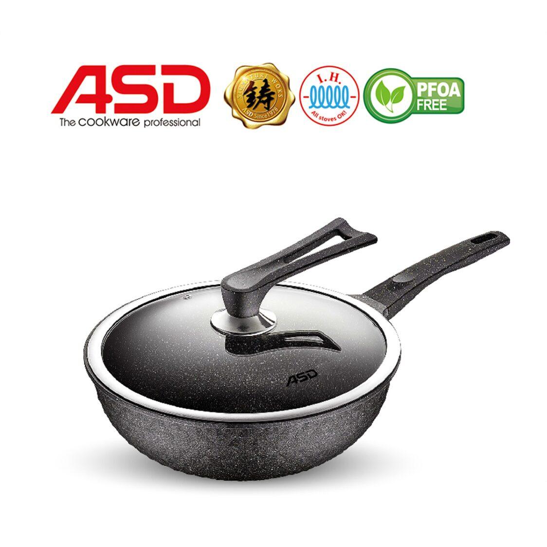 ASD Granite X 30Cm Die Cast Wok Pan With Self-Standing Cover HPGX30W