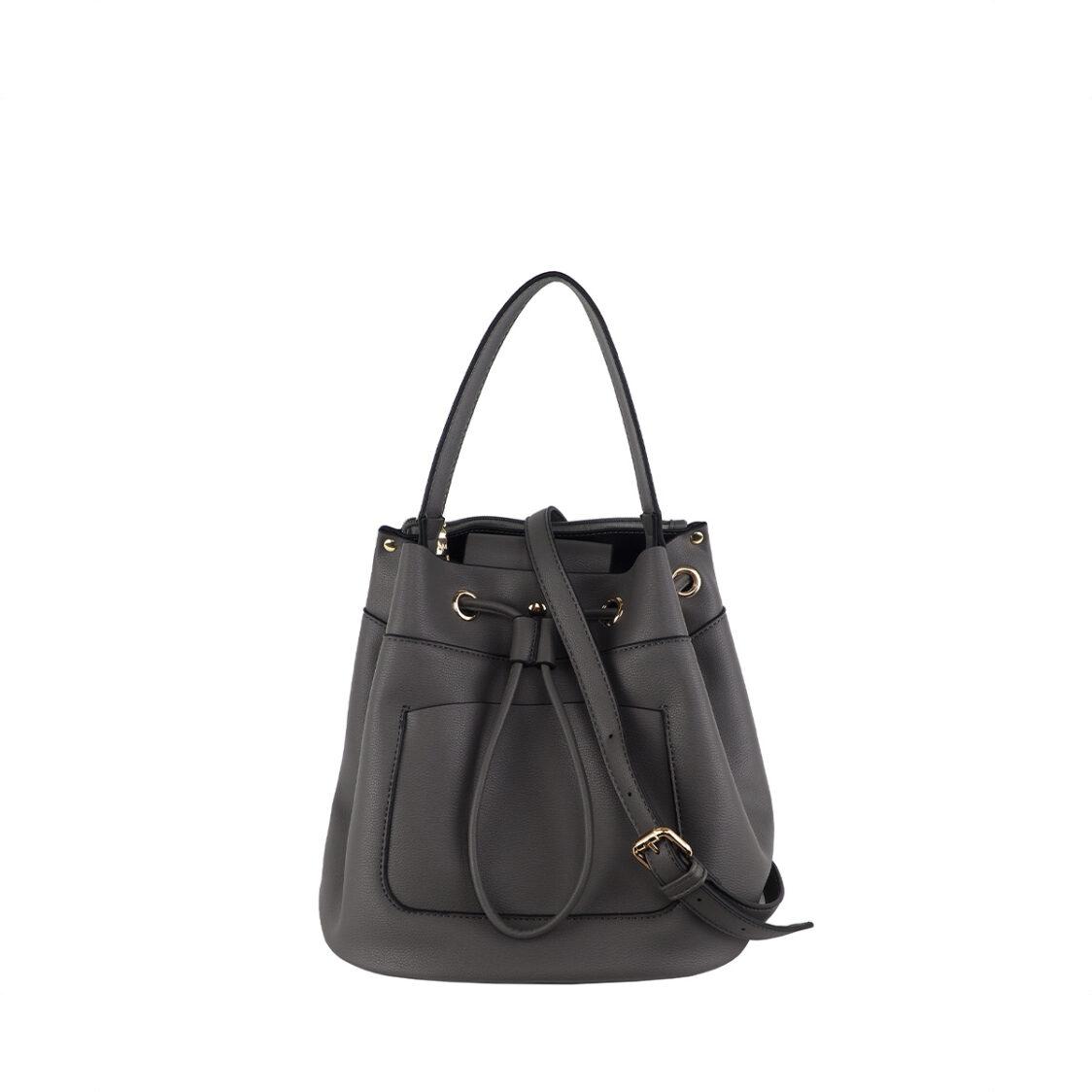 Perllini  Mel Draw String Bucket Bag Grey