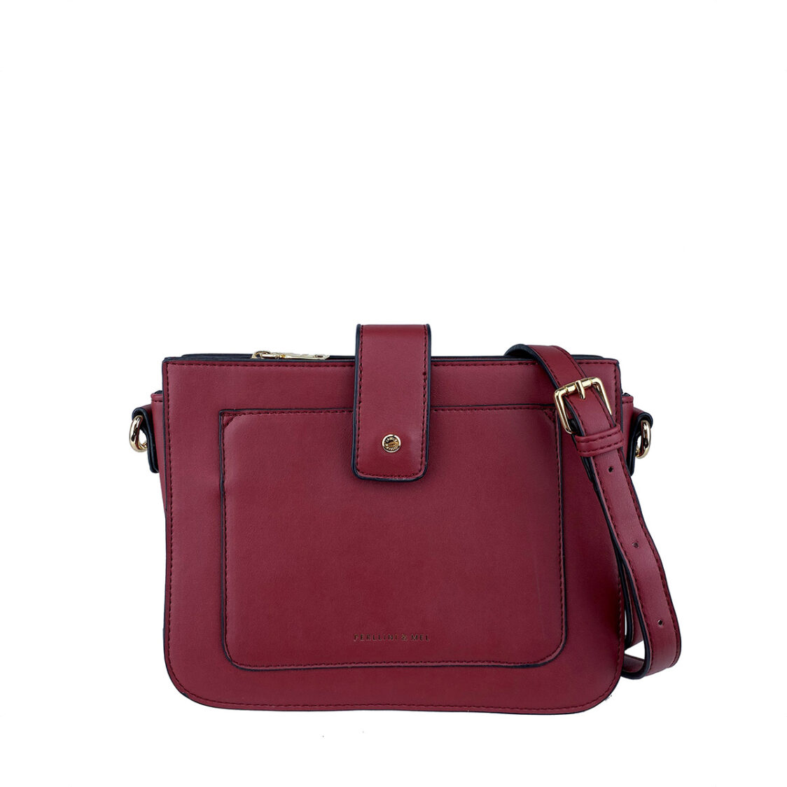 Perllini  Mel Sling Bag With Front Slot Pocket Dark Red PF3701-Dk R
