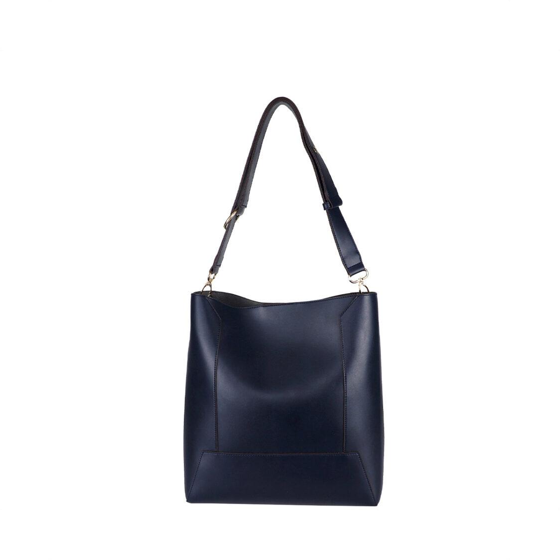 Perllini  Mel Box Calf Leatherette Bag-In-Bag Shoulder Bag With Adjustable Strap Navy