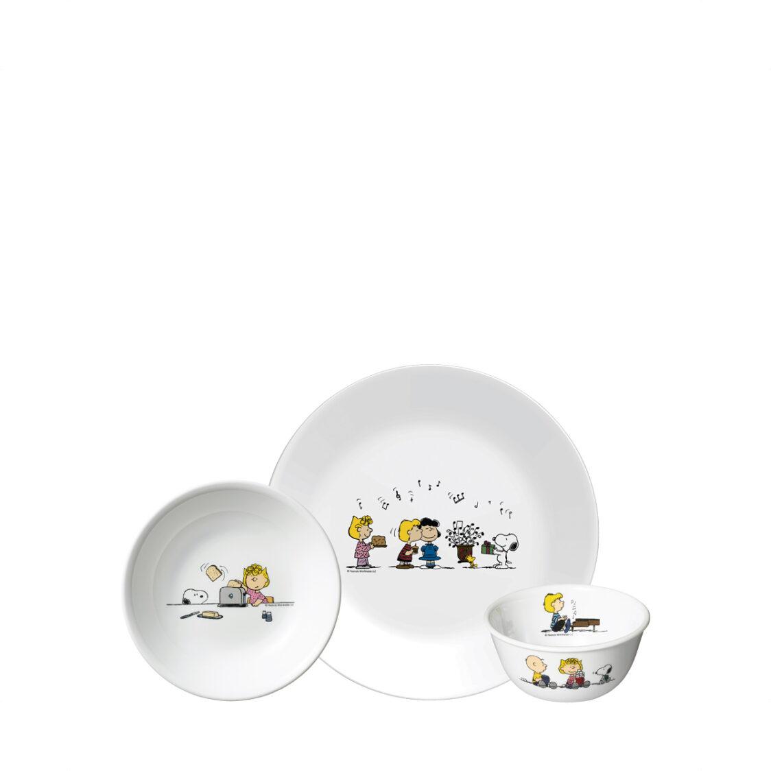 Corelle 3pc Set B 26cm Dinner Plate 17cm Soup Plate  450ml Bowl Design Snoopy Colourful