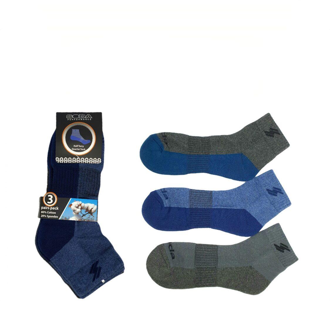 Soda 3 pc Pack Half Terry Quarter Casual Socks