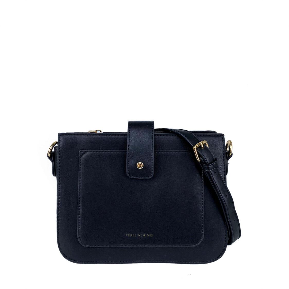 Perllini  Mel Sling Bag With Front Slot Pocket Black PF3701-Blk