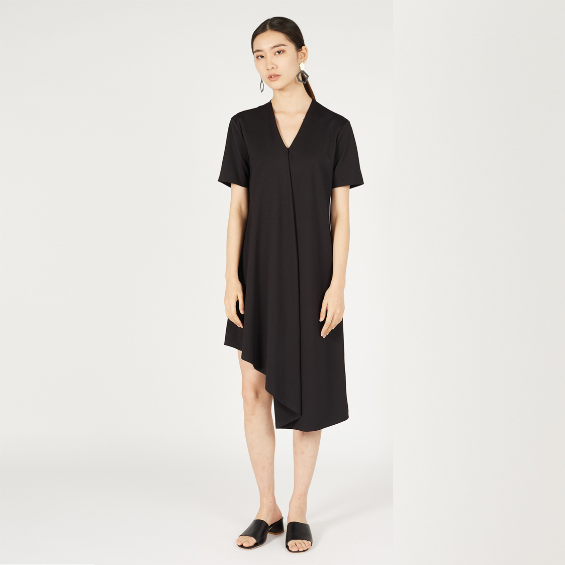 MPhosis Aletha Asymmetrical Midi Dress Black