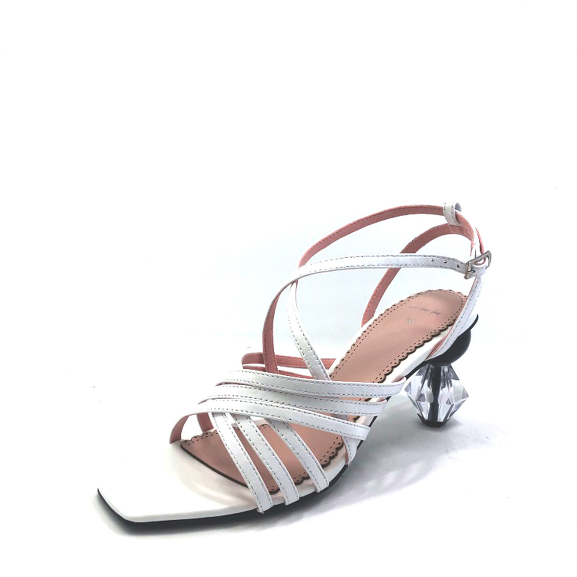 Martina Pink Strappy Sandals with Geometric Heel White