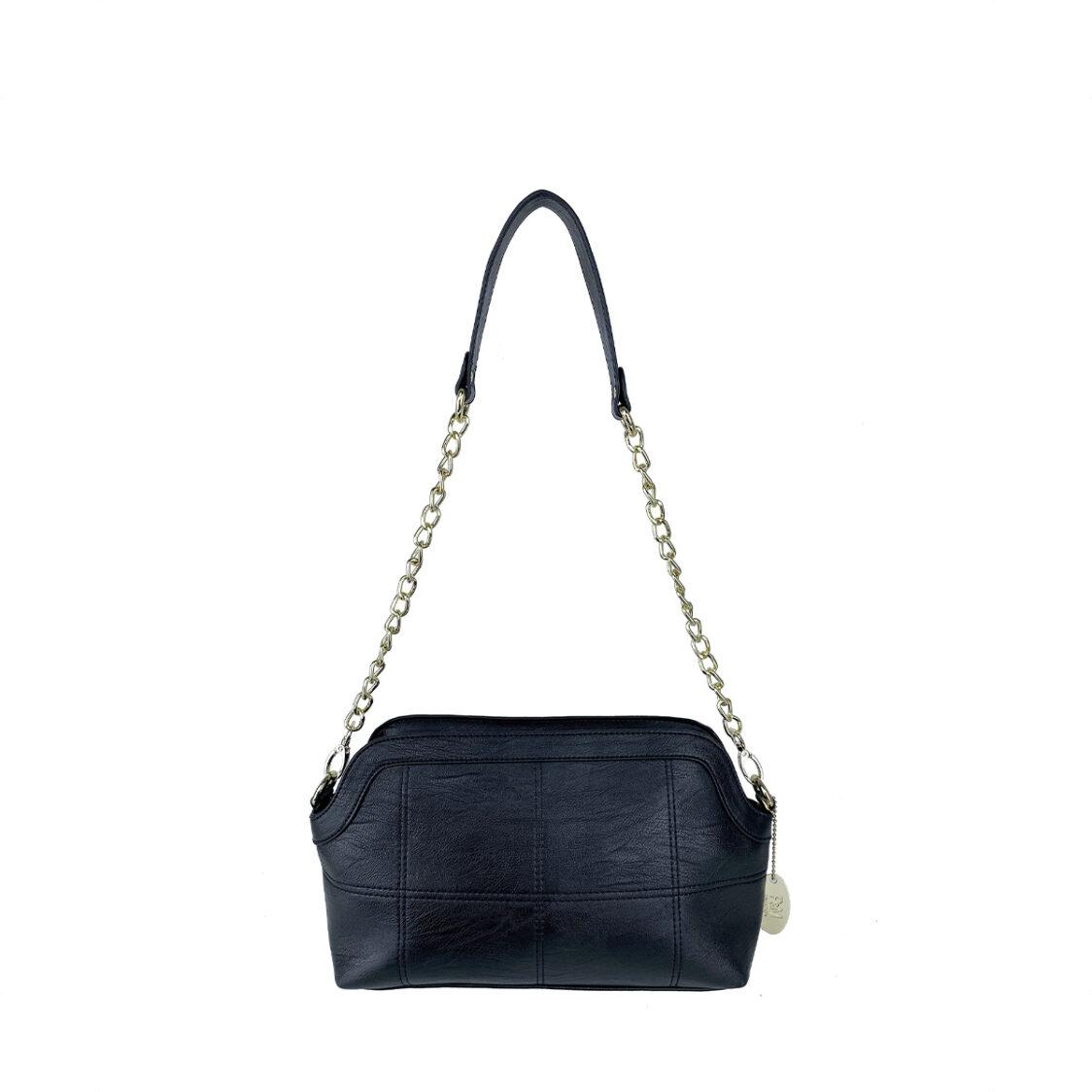 Perllini  Mel Chain Shoulder Bag With Sling Strap Black