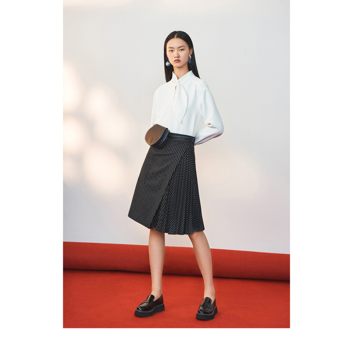 Lily Asymmetric Pleated Skirt Black