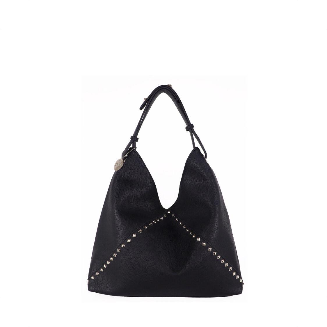 Perllini  Mel Studded Hobo Bag With Adjustable Shoulder Strap Black PN574-Blk