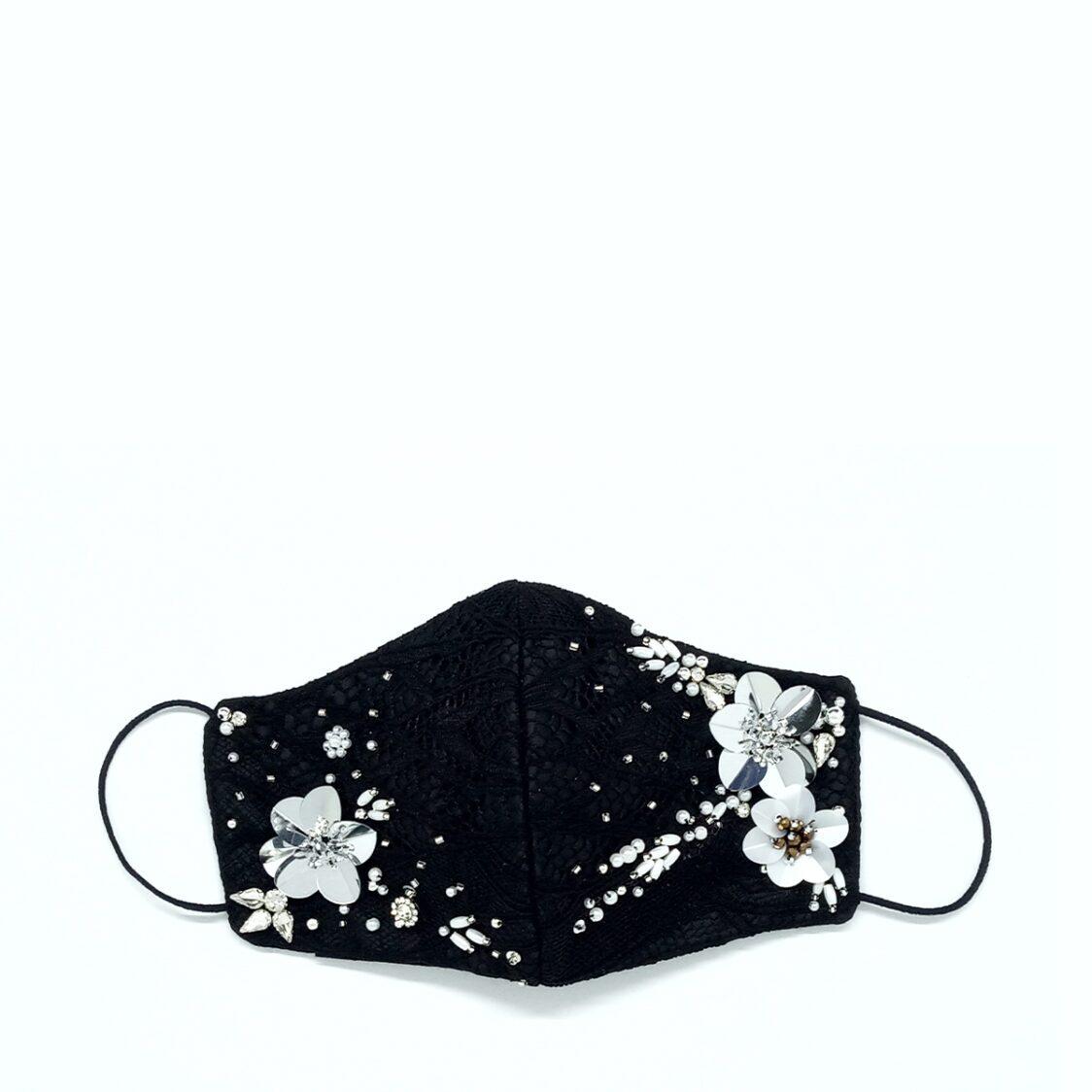 Gayatri Mask - Lace Beads Black