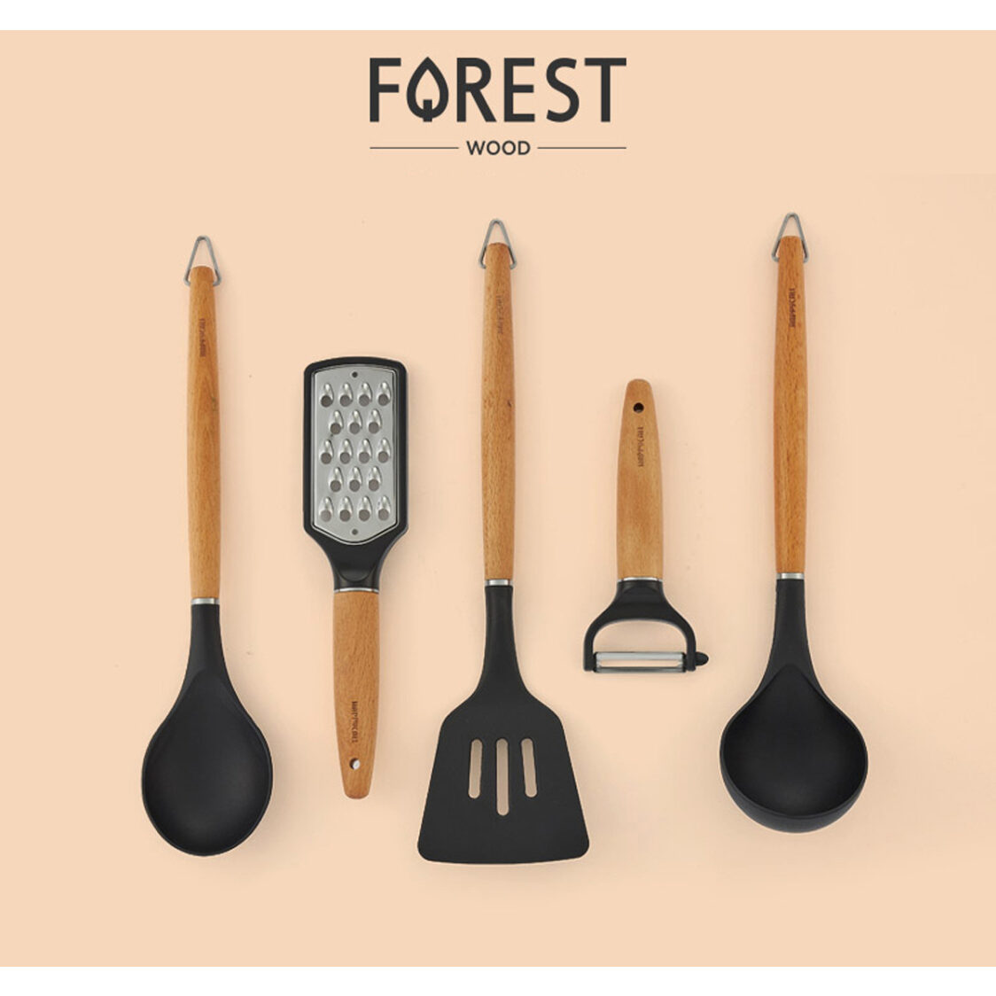 Happycall Forest Wood 5-Pc Cooking Tools Set 4900-0077