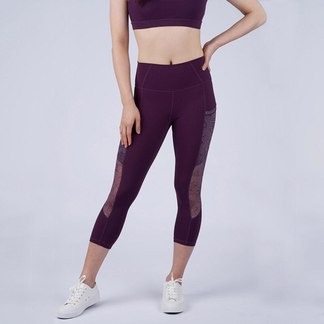 Yumi Active Yuga Mesh Capri Sarong Kebaya Plum Purple