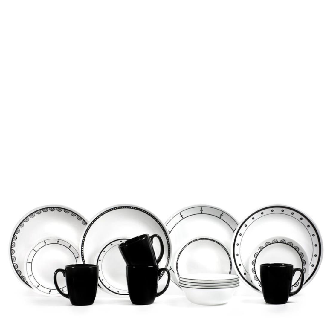 Corelle 16pc Dinner Set Black  White