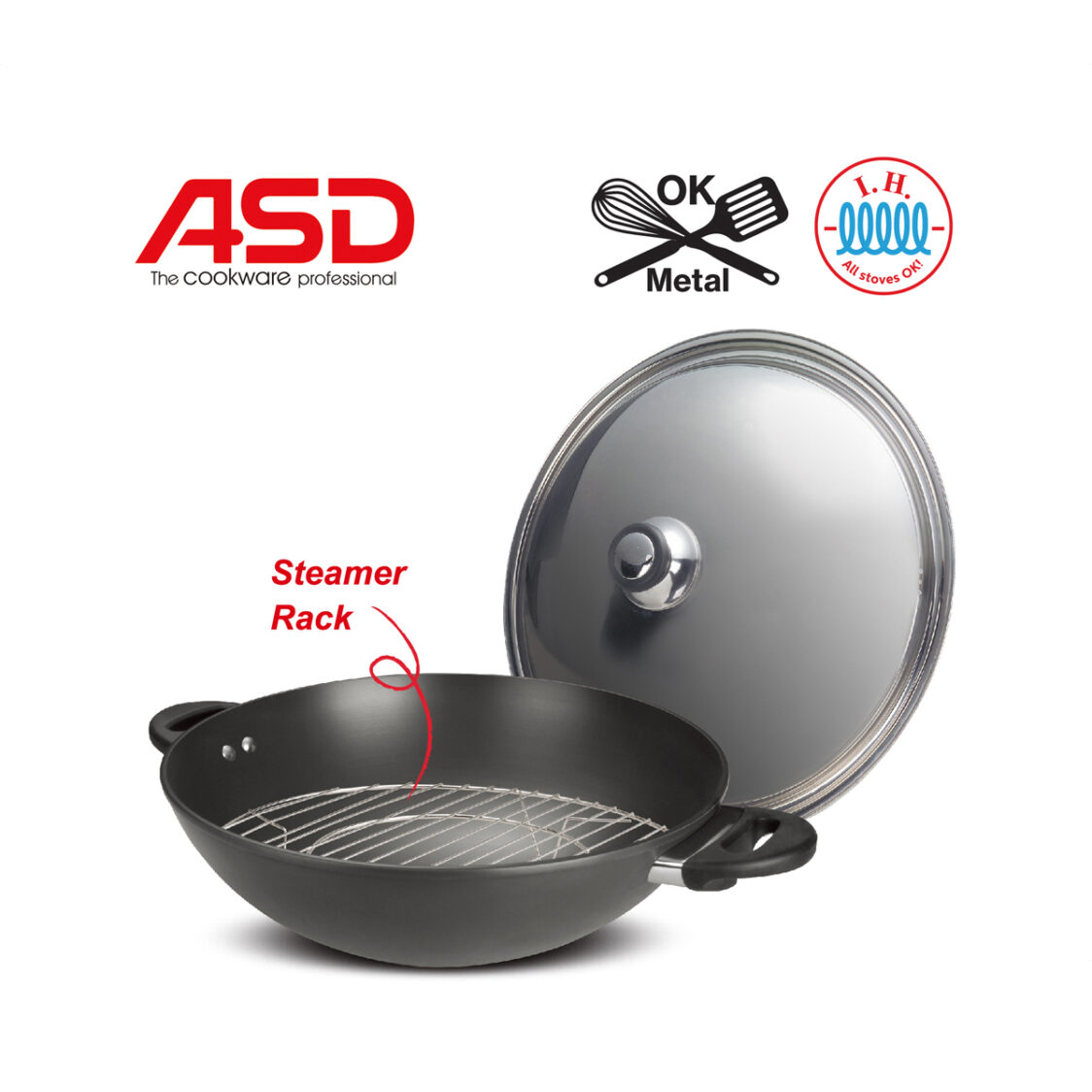 ASD 40cm Hard Anodised Induction Compatible Wok With Stainless Steel Cover HP2540IH-N