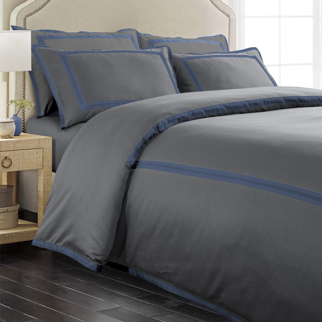 Mmaison Hotel Collection Orville King Fitted Sheet - Charcoal