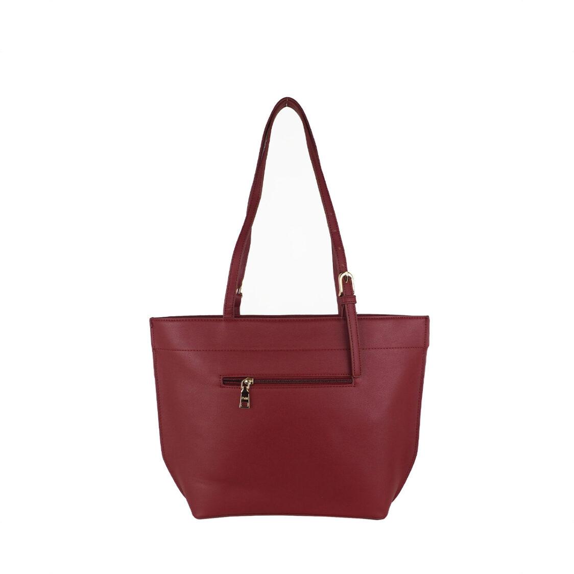 Perllini  Mel Double Handle Tote Bag Dark Red PF7470-Dk R