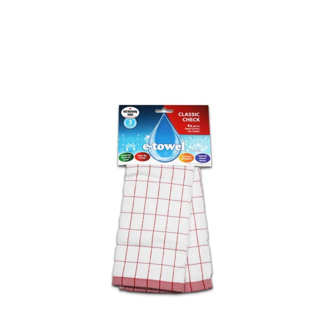 E-Cloth Towel Classic Check Red EC20169