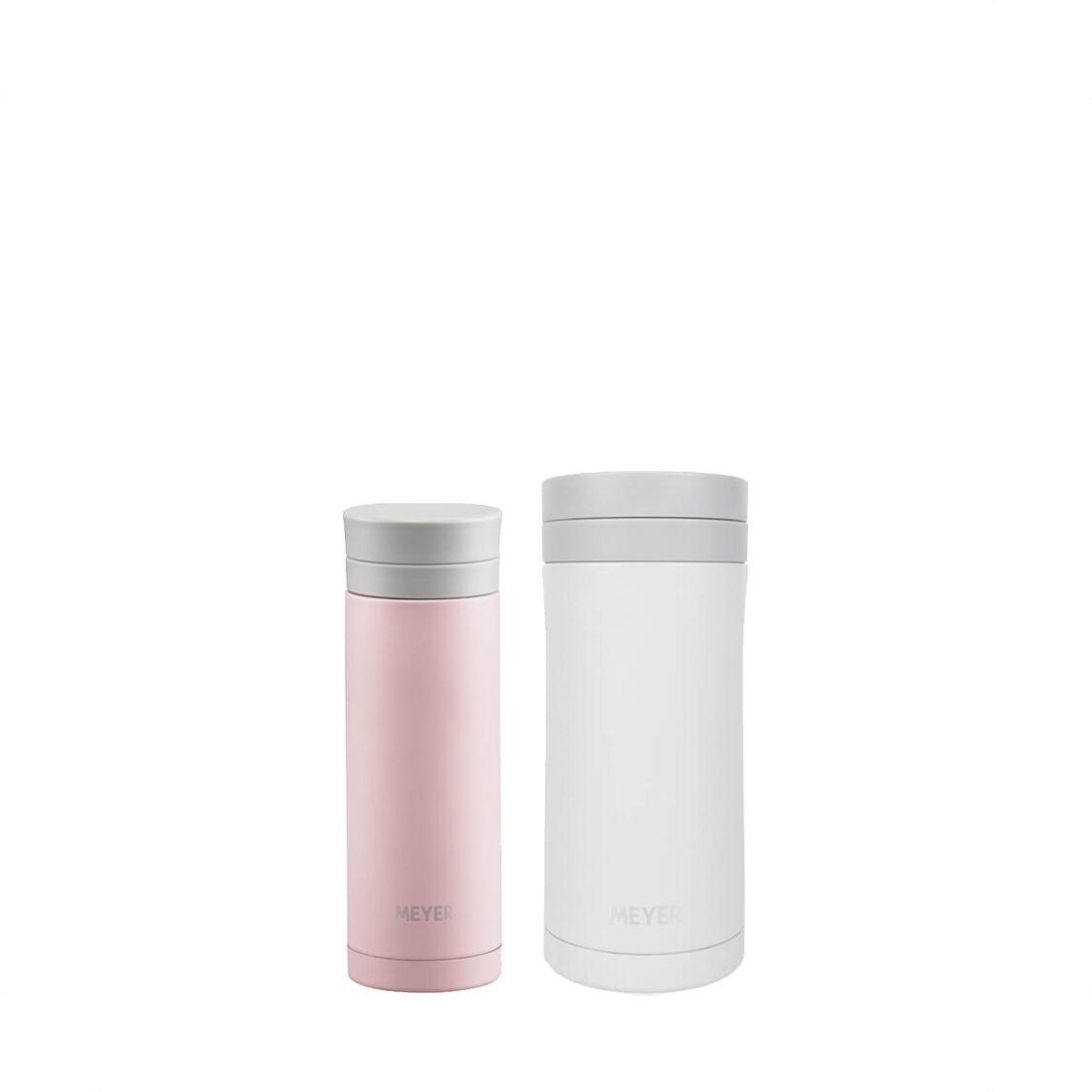 Meyer 250ml Vacuum Flask Light Pink  330ml Vacuum Mug Light Beige