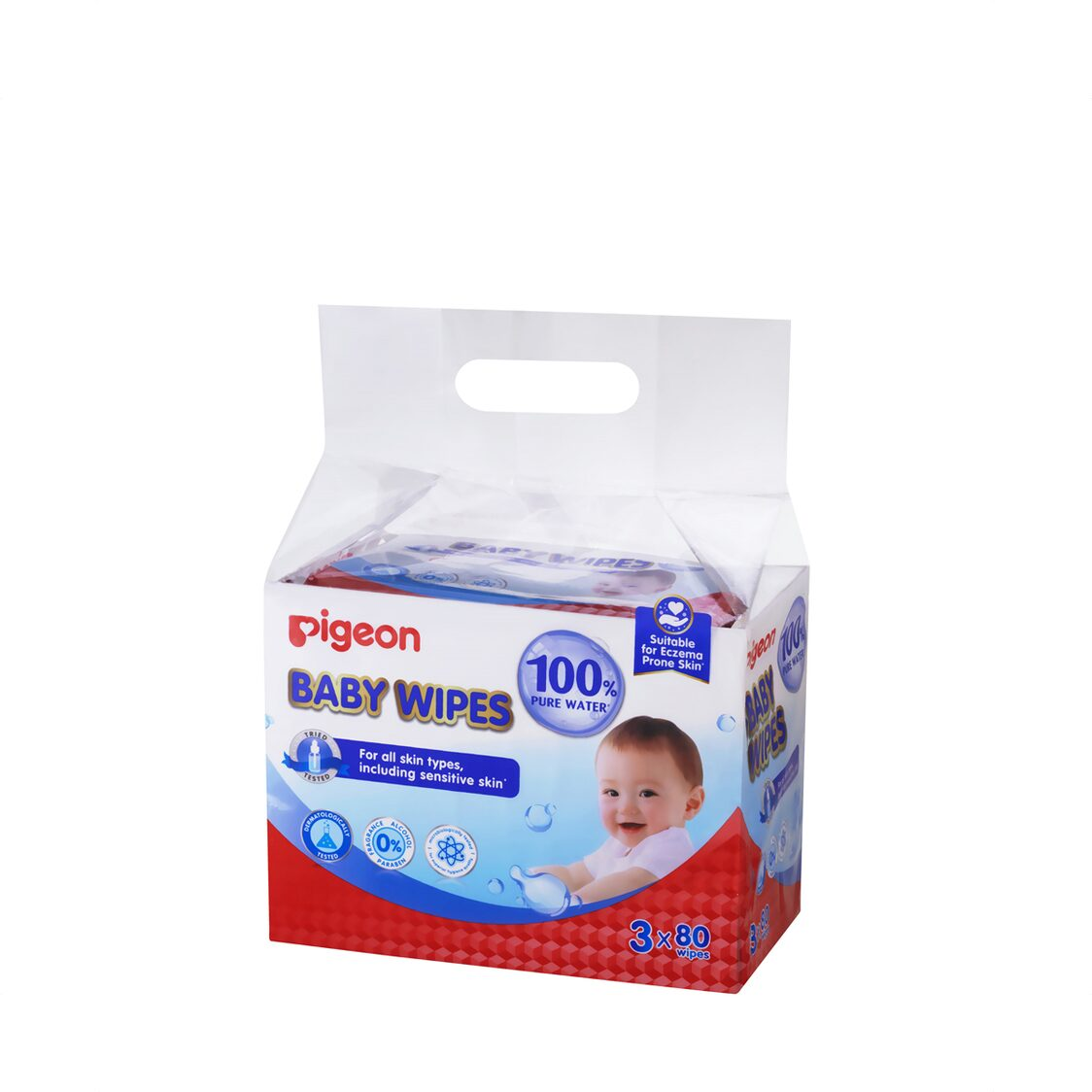 Baby Wipes 80 Sheets 100 Pure Water 3in1
