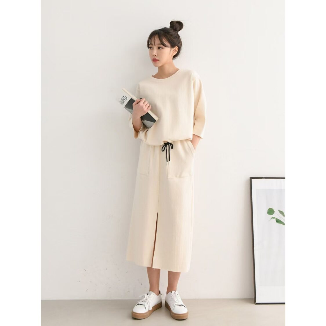 M Collection Mid Sleeve Top With  Skirt Lounge Set Cream