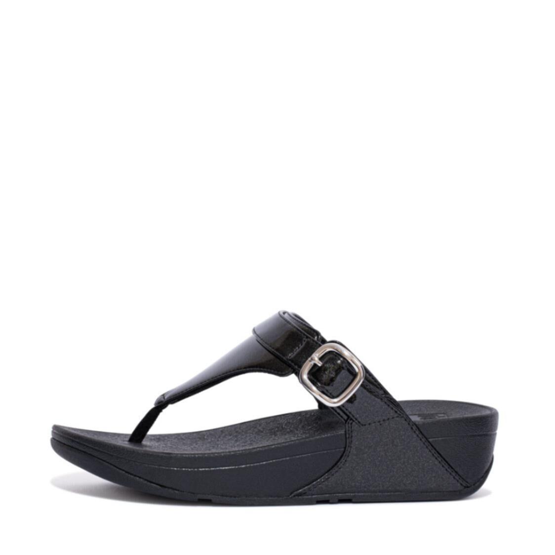 Fitflop Lulu Glitter Adjustable Toe-post Sandals Black EC9-090