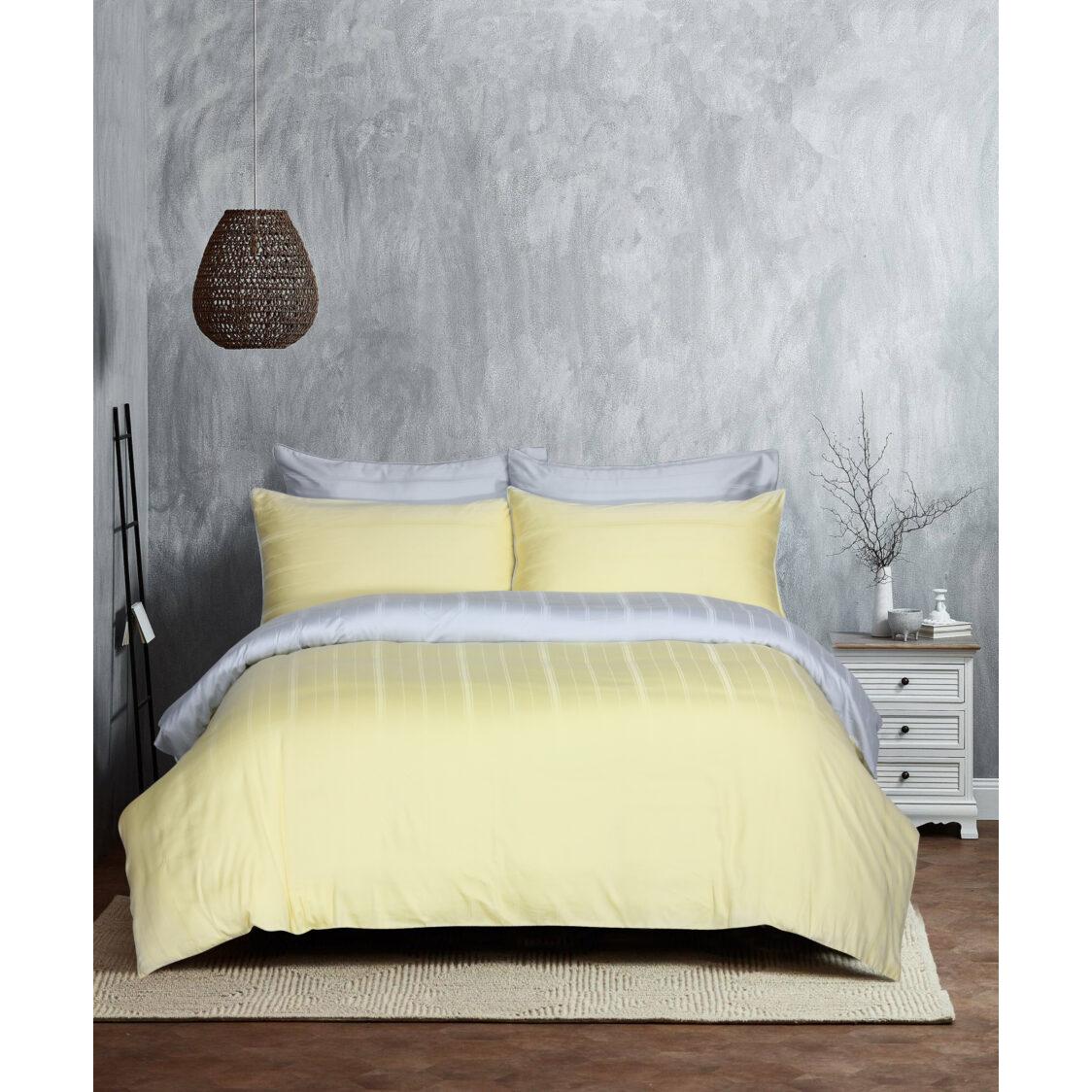 Eurotex Mod Living 1000TC 100 Tencel Dobby Bed Set- Kane MerrowSilver