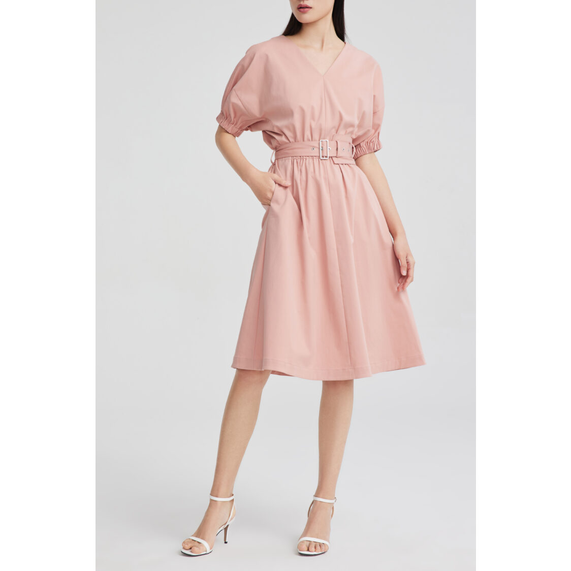 Lily V- Neck Belted Dress Dusty Peach
