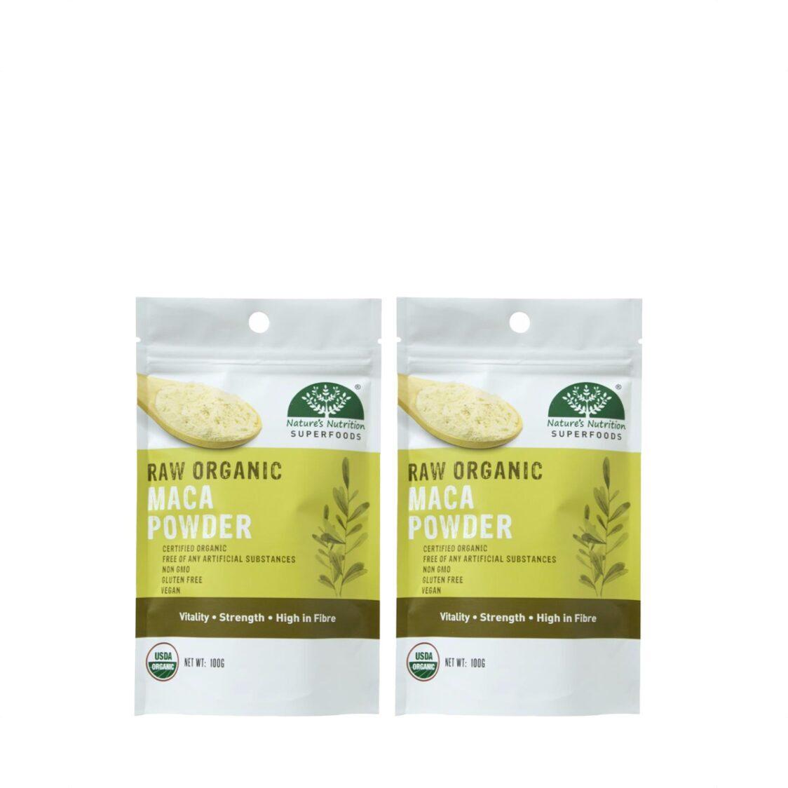 Natures Nutrition Organic Maca Powder 100g Bundle of 2