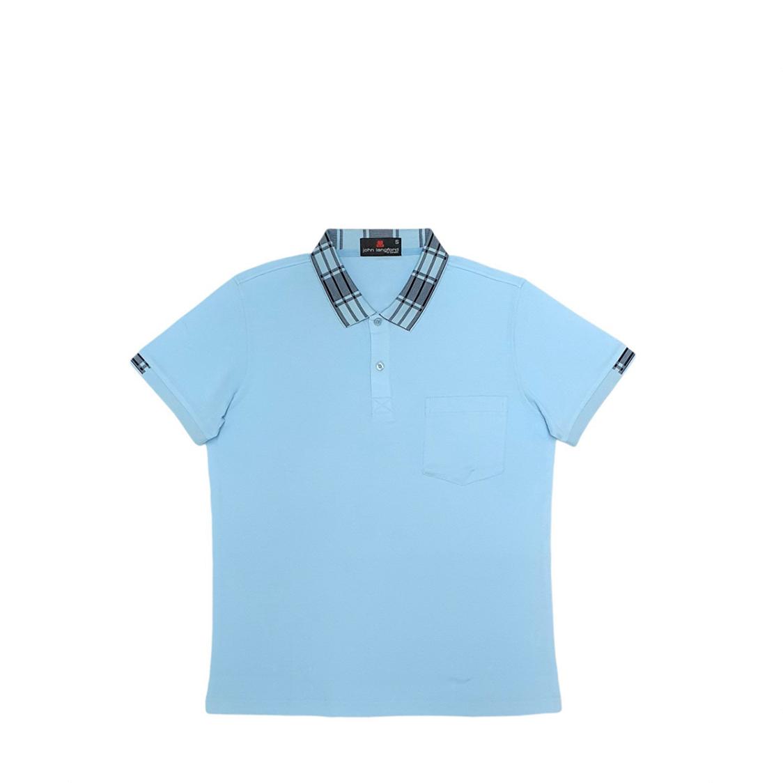 John Langford Honeycombed Polo T-Shirt with Pocket and Digital Printed Collar Blue
