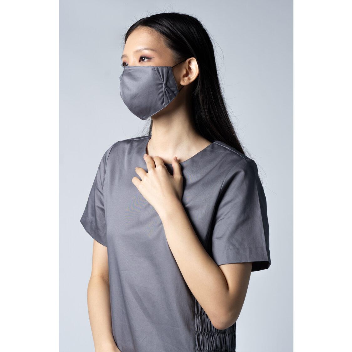 Kurt Woods Ribbon Bow Face Mask Grey Kw7486fm-r2 Free Size