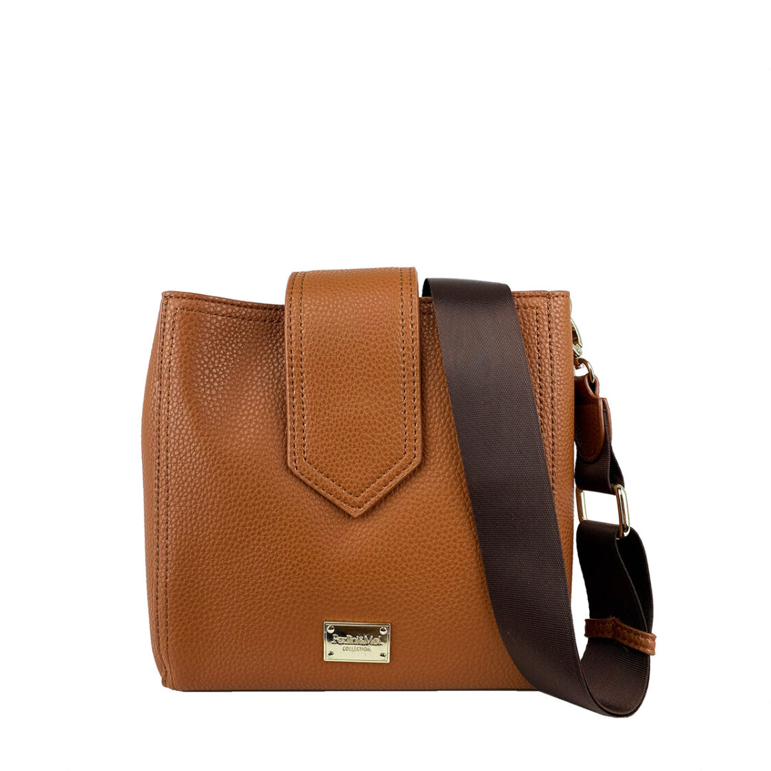 Perllini  Mel Pebbled Faux Leather Square Sling Bag With Webbing Strap Camel