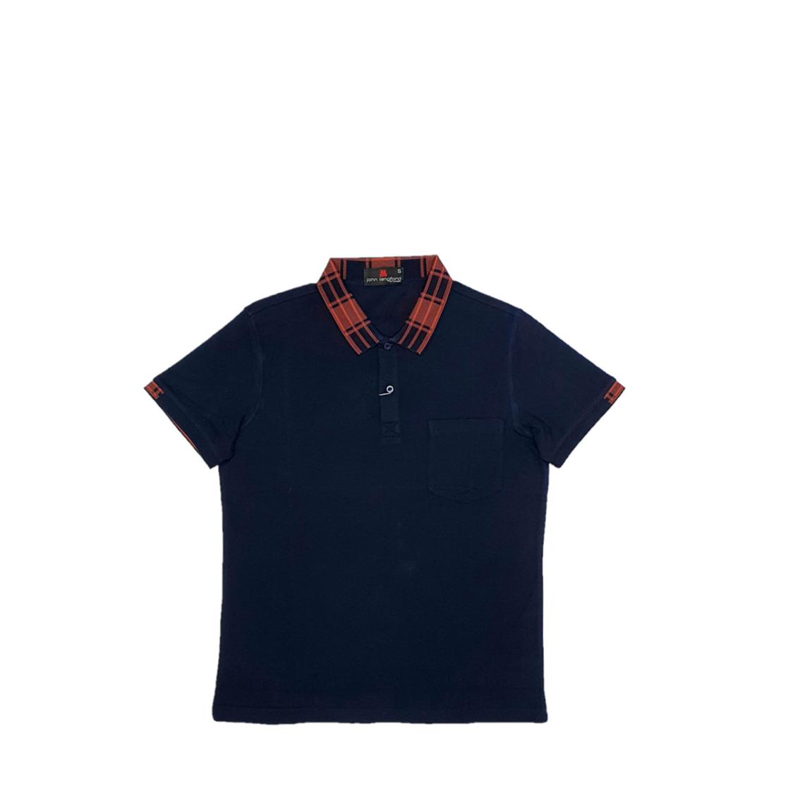 John Langford Honeycombed Polo T-Shirt with Pocket and Digital Printed Collar Navy