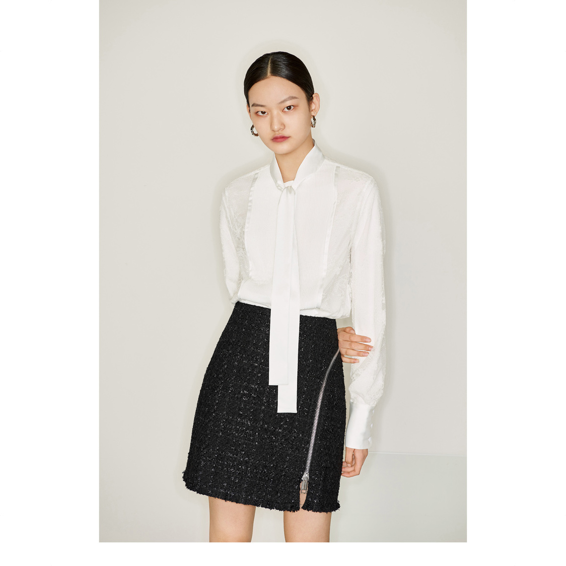 Lily Lace Stitching Shirt White