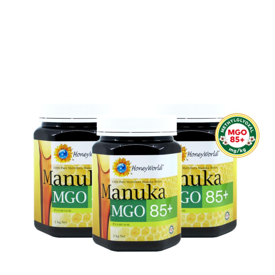 Honeyworld Manuka MGO 85 1kg Triple Pack