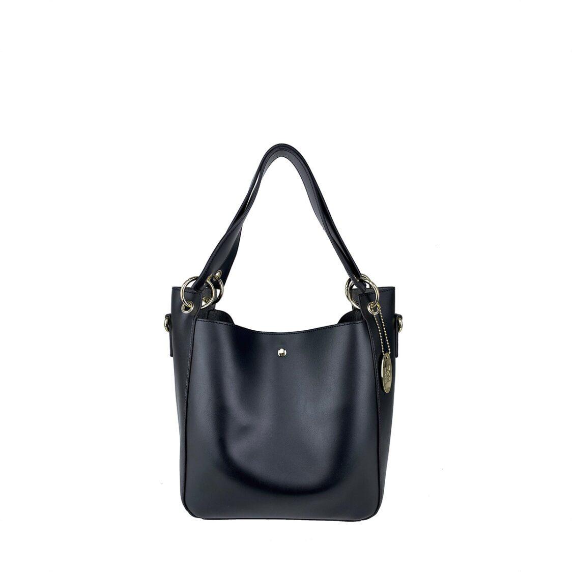 Perllini  Mel Box Calf Leatherette Bag-In-Bag Double Handle Bag With Sling Strap Black