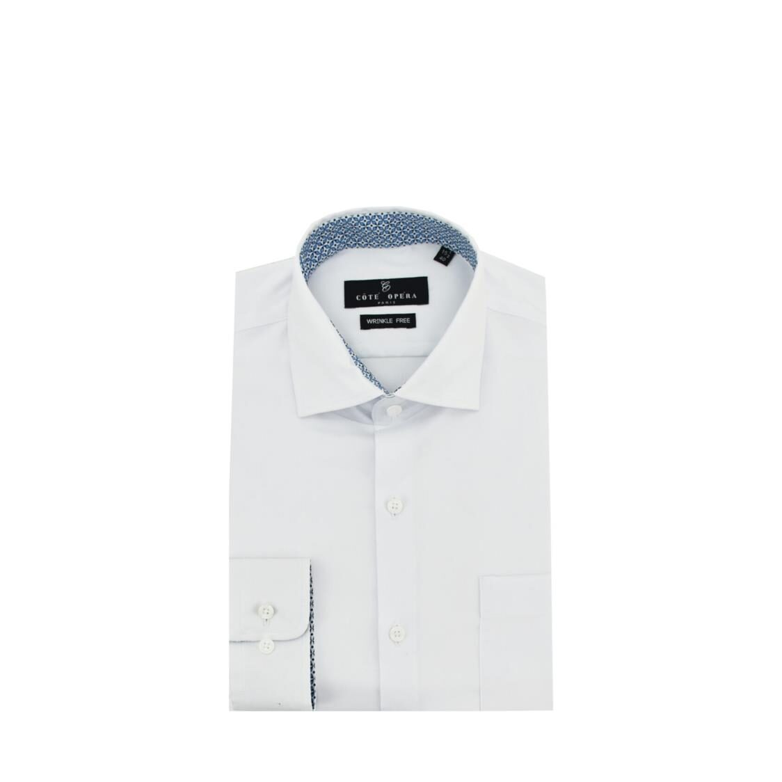 Cote Opera Long-Sleeved Shirt with Wrinkle-Free  Moist Cured finish - White