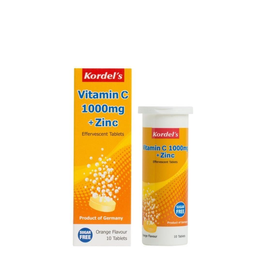 Kordels Effervescent Vitamin C 1000mg  Zinc Orange 10s