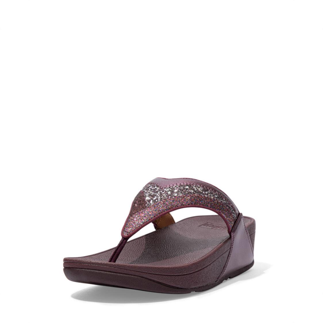 Fitflop Lulu Ombre Glitter Toe-Post Sandals Eggplant Purple Dl2-889
