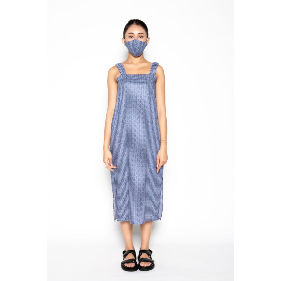 Kurt Woods Strap Midi Dress W Sash Geometric