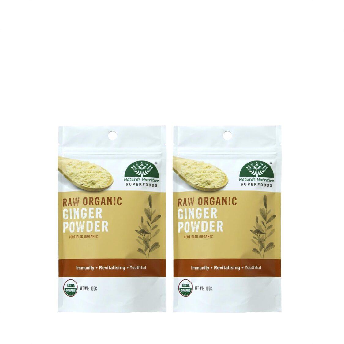 Natures Nutrition Organic Ginger Powder 100g Bundle of 2