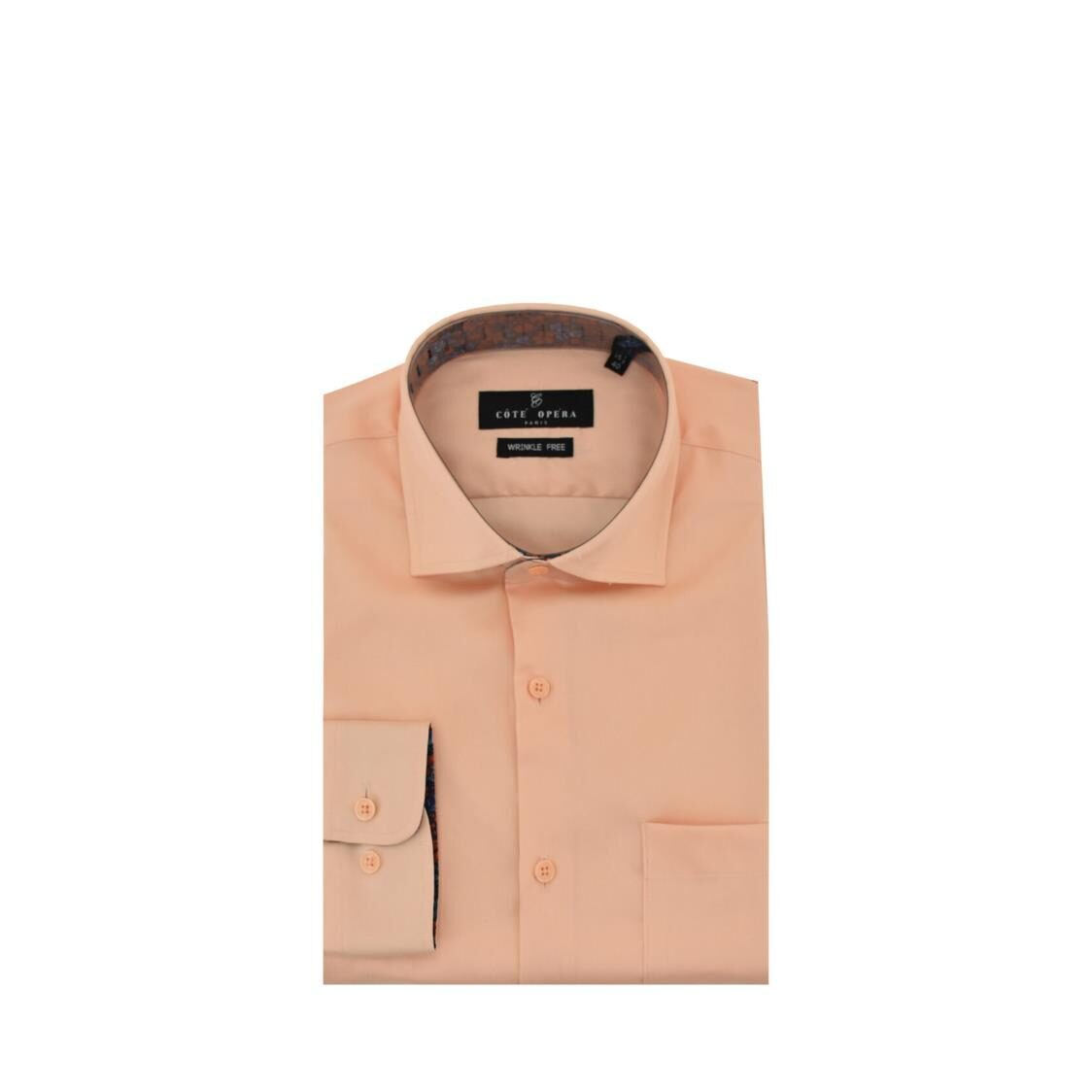 Cote Opera Long-Sleeved Shirt with Wrinkle-Free  Moist Cured finish - Orange